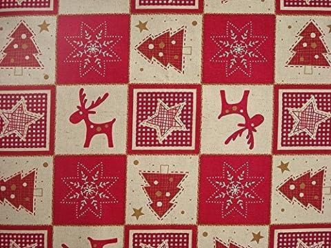 Festive Woven fabric Christmas Scottish Cotton Linen 160