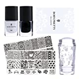 Born Pretty Stamping Nail Art Set-2Pcs Image Template Black White Stamping Nail Polish with 1Pc Jelly Clear Stamper