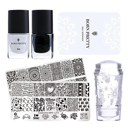 Born Pretty nail stamping set-2pcs immagine modello nero bianco stamping nail polish con 1PC Jelly Clear Stamper