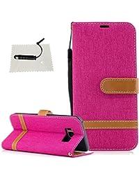 TOCASO Funda de Cuero Samsung Galaxy S8 Funda Piel para con Tapa Samsung Galaxy S8 [Garantía de por vida] Soporte Plegable Ranuras para Tarjetas y Billetes Estilo Libro Cierre Magnético Impresión de Flor Color sólido Impresión de Amor PU Premium y TPU Funda Interna Mariposa Color sólido--Vaquero Pieza roja