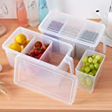 Kitchen Storage Containers with Handle, Plastic Food Storage Organizer Boxes with Lids for Refrigerator, Fridge, Freezer Cabi