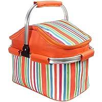 CovVY Panier isotherme pliable pour pique-nique, camping, randonnée, plage, barbecue, pique-nique en plein air (Orange)