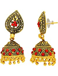 DzineTrendz Gold covered Brass Brass, EthnicTraditional red, Bridal marriage Jhumki earrings for Women girls Traditional