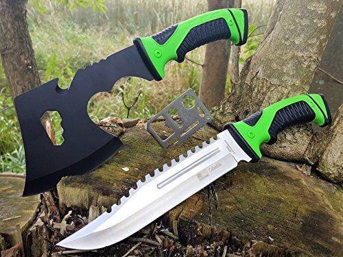 *3er Mega Survival-Set* 32cm Bear-Knife Jagd - Camping-Messer + kleine & handliche Feuerholz / Outdoor / Survival-Axt-Beil / mit TacHide Griff + 12in1 Multi-Card