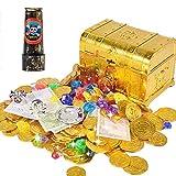 ANPHSIN Pirat Goldmünzen - Piratenschatz Spielzeug Set, Piratenschatzkiste, Pirat Schmucksteine, Pirat Geld, Banknotes, Ohrring, Ring und Teleskop, Piratenschatz Set für Kinder Piratenparty Mitgebsel