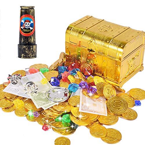 ANPHSIN Pirat Goldmünzen - Piratenschatz Spielzeug Set, Piratenschatzkiste, Pirat Schmucksteine, Pirat Geld, Banknotes, Ohrring, Ring und Teleskop, Piratenschatz Set für Kinder Piratenparty ()