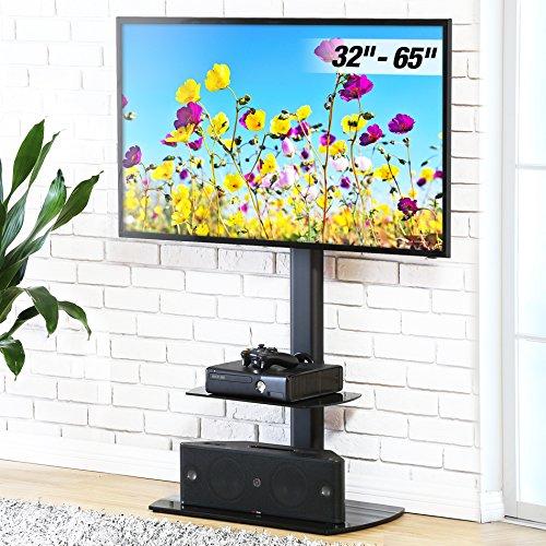 FITUEYES Meuble TV avec Support Télé Pied Suspendu Pivotant pour Plasma TV/LCD de 32 à 65 Pouces avec 2 Etagères en Verre Trempé Noir TT206502GB