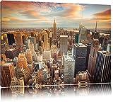 Skyline von New York Format: 120x80 auf Leinwand, XXL riesige Bilder fertig gerahmt mit Keilrahmen, Kunstdruck auf Wandbild mit Rahmen, günstiger als Gemälde oder Ölbild, kein Poster oder Plakat