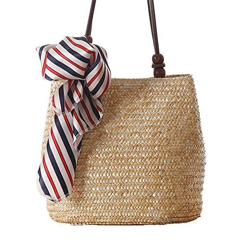 donne ragazze stile pastorale spiaggia sacchetto di spalla tote bag Borsa a tracolla Borse a mano(Senza la sciarpa), verde beige