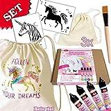 Einhorn Kreativ-Set für 3 Mädchen, 11-teilig, Bastel-Set für Girls/Freundinnen zum Gestalten und Bemalen einer eigenen Tasche, auch zum Kindergeburtstag eine Prima Beschäftigungsidee