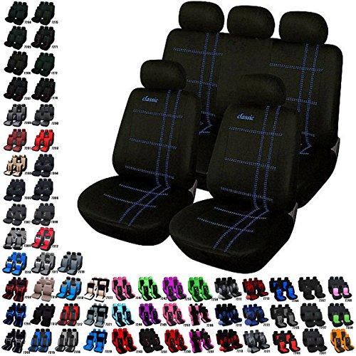 Preisvergleich Produktbild Universal Auto Sitzbezug Set Sitzbezüge Schonbezüge Classic Schwarz/ Blau AS7206