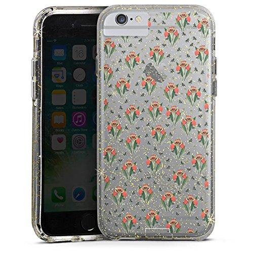 Apple iPhone 6s Plus Bumper Hülle Bumper Case Glitzer Hülle Tigerlily ohne Hintergrund Steinrohner Blumen Bumper Case Glitzer gold