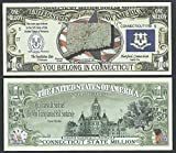 Connecticut State Educational Million Dollar W Map, Seal, Flag, Capitol - Lot of 100 Bills