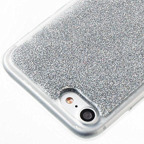 DaYiYang Soft Flexible Silicone TPU Ultra Thin Gel Cover Case Bling Glitter Couverture complète 360 ​​�?Couverture Couverture [antichoc] pour iPhone 7 ( Color : Rose ) Silver