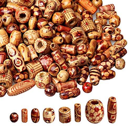 Mengger 600PCS holzperlen zum fädeln Natur kleine Verschiedene Holz Perlen Basteln Auffädeln Holzkugeln für Schmuck DIY Armband Halskette (Zufällige Ideen Für Kostüm)