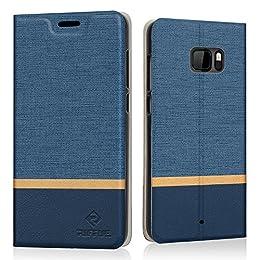 Funda HTC U Ultra, Riffue Carcasa PU Ultra Delgada con Cartera de Estilo Libro Vaquero Protectora de Folio Flip Case para HTC U Ultra - Azul