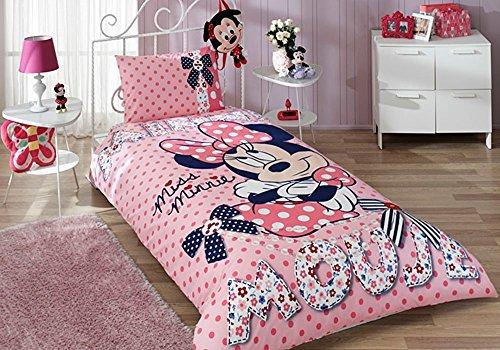 Disney Minnie Dream copripiumino letto singolo Copripiumino (160x 220cm), lenzuola 100% cotone con copripiumino, lenzuolo con angoli Acke (100x 200cm) e Federa per cuscino (50x 70cm) made in Turchia
