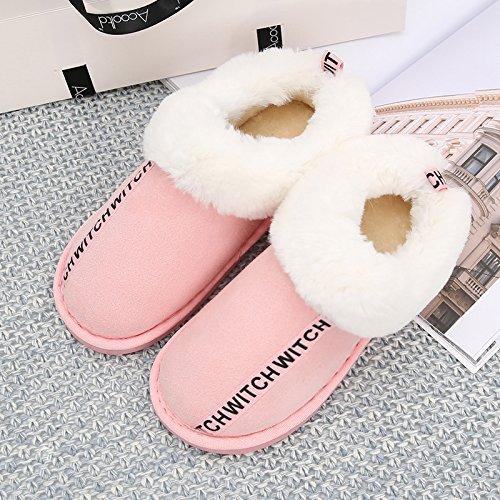 DogHaccd pantofole,Lettere simpatico peluche femmina pantofole home home thick caldo cotone pantofole al di fuori di usura Rosa