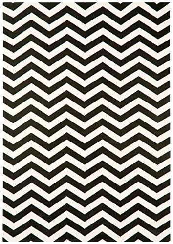 Alfombra salon sala de estar Carpet clásico Design ONIX ZIG ZAG RUG 100% Algodón 160x230 cm Rectangular Negro | Alfombras barata online comprar