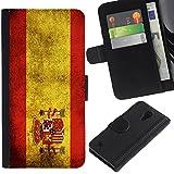 Graphic4You Español Bandera España Vintage Grunge Diseño Cuero Carcasa Funda Monedero para Samsung Galaxy S4