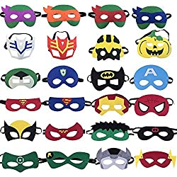 KRUCE 24 Máscaras de Fiesta de Superhéroes,Máscara de Dibujos Animados de Tortugas Ninja,Suministros de Fiesta de Cumpleaños de Superhéroe,Niños de Más de 3 Años o Niños Jugando a los Juguetes