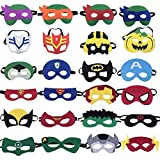 KRUCE 24 PC maschere di supereroi, Ninja Turtle Cartoon mascherare, Forniture per feste di compleanno di Supereroi, Giochi di ruolo per bambini o ragazzi oltre 3 anni