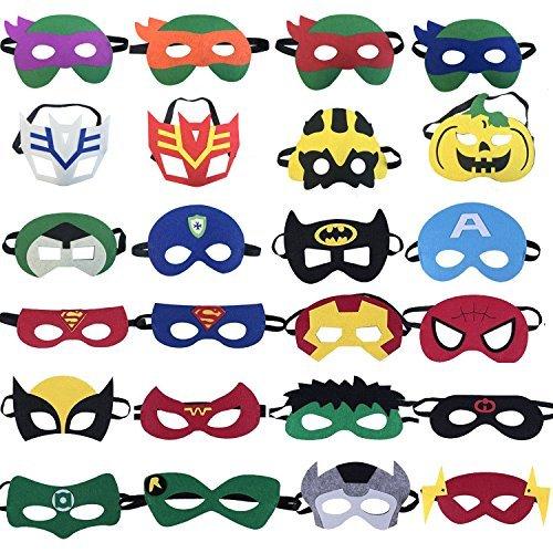 24 Superhelden-Party-Masken,Ninja Schildkröte Cartoon Maske,Super Hero Geburtstag Partyzubehör,Rollenspiel für Kinder oder Jungen ab 3 Jahren