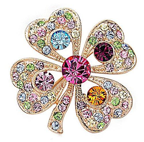 Hosaire Broche de Trébol de Diamantes 3.5X3.5cm Broches y Prendedores Retro Pin Ramillete Acero Inoxidable Coloridas para el Banquete de Boda del Cristal