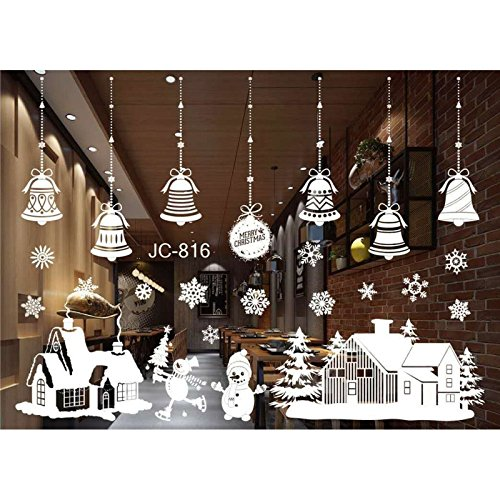 Weihnachtsbaum Fenster Aufkleber Wingbind Weiß Fenster Weihnachten Aufkleber Elch Schneeflocke Schneemänner Wandaufkleber Wohnkultur Ornamente (Schneeflocke Fenster Aufkleber)