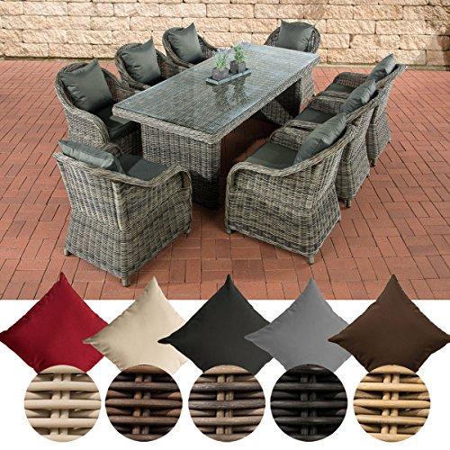 CLP Gartengarnitur LAVELLO | Sitzgruppe mit 8 Sitzplätzen | Gartenmöbel-Set aus Polyrattan | Pflegeleichte Gartenmöbel mit Aluminium-Untergestell | In verschiedenen Farben erhältlich Bezugfarbe: Terrabraun, Rattan Farbe: Braun-meliert