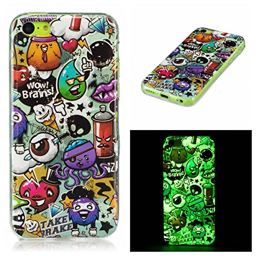 Preisvergleich Produktbild OnlyCase iPhone 5C Hülle Handyhülle Schutzhülle,  Nachtleuchtender grüner Glühen im dunklen Handy Etui Anti-Kratzer Anti-Staub Case Cover stoßsicherer Mobiltelefon-Kasten,  Graffiti
