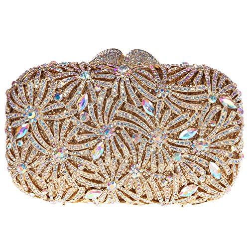 Bonjanvye Bling Studded Rhinestone Fireworks Crystal Clutch Bag for Evening Party Gold AB Gold