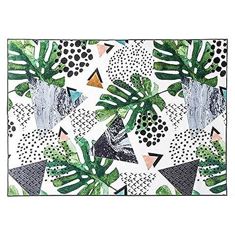 DIDIDD Farmhouse style plante verte salon maison rectangle antidérapant tapis chambre chevet couverture tapis de souris