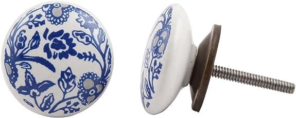 Indian-Shelf Handmade Ceramic Blue Drawer/Dresser Knobs (CK-959)