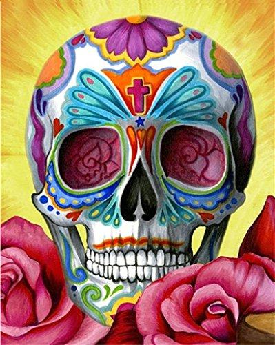 5D DIY Kit de peinture au diamant, crâne couleur Crème Rhinestone Broderie Cross Stitch Arts Artisanat pour décoration murale à la maison 11,8 * 15 pouces (30 * 38cm)