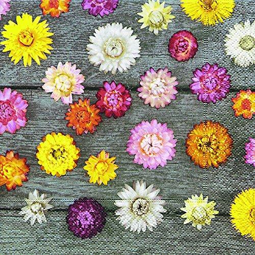 20 Servietten Blumen Sommer Herbst Trockenblumen 33x33 cm