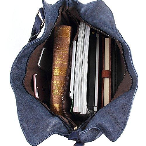 CASELAND Damen Schultertasche Henkeltaschen für Frauen PU Leder Tote Damen Henkeltasche Grosse Kapazität Hobo Henkeltaschen (L:31CM * H:36CM * W:15CM) Blau
