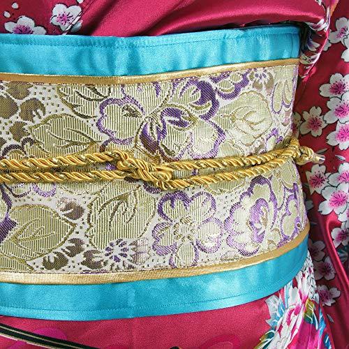 Japanischer Geisha Kimono Sakura Weinrot - 5