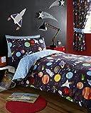 Kidz Club, Set per letto singolo da bambino, copripiumino e federa, motivo pianeti Marte, Sole e Luna, colore: blu scuro