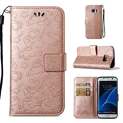 Bear Village Funda Cuero Galaxy S7 Edge, [Garantía de por Vida] Funda Billetera, Cierre Magnético, Ranuras para Tarjetas, Soporte Plegable para Samsung Galaxy S7 Edge (#6 Oro Rosa)