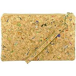 Vegan Clutch Dokumententasche mit Reißverschluss aus Echt-Kork, 24x15cm (B x H)