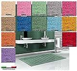 Centesimo Web Shop Tappeto Bagno in 4 Misure E 13 Colori - Prodotto in Italia - Tessuto Misto Cotone Riccio Sfere Pois TONDI Cerchi - 55X85 55X110 70X140 PARURE 3 Pezzi - 70x140 cm Rosso