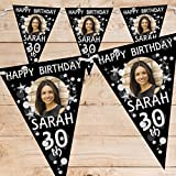 Personalised Black & Silver Glitz Birthday Party PHOTO Flag Banner Bunting N70 - 10 Flags inc ribbon 18th 21st 30th 40th 50th ANY AGE!