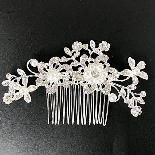Txian fermaglio pettine per capelli da matrimonio da sposa con fiore di cristallo e perline