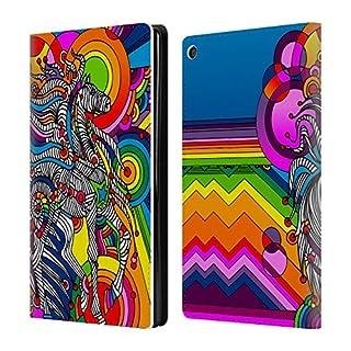 Head Case Designs Offizielle Howie Green Mustang Karneval Brieftasche Handyhülle aus Leder für Amazon Fire HD 8