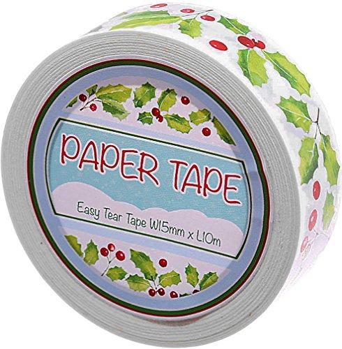 1rotolo di nastro adesivo carta stampa colorata ~ agrifoglio ~ 10metri di lunghezza, 1,5cm di larghezza Per Natale, per il fai da te, scarpbo oking, regali, decorazione