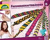Lena 42689 - Bastelset Freundschaftsbänder knüpfen groß, Komplettset mit 13 farbigen Knüpfgarnen und Fädelperlen, Knüpfset für Kinder ab 6 Jahre, Set mit Anleitung zum Flechten von Schmuckbändern