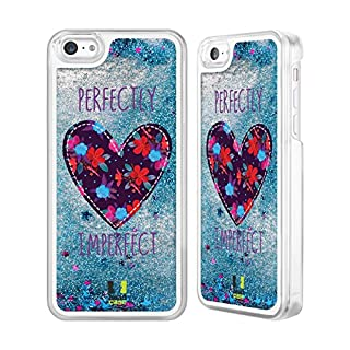 Head Case Designs Floral Heart Patches Sky Blue Liquid Glitter Case Cover for Apple iPhone 5c