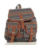 malito Damen Rucksack   Handtasche in trendigen Farben   Tasche mit vielen Mustern - Schultasche R800 (schwarz-braun)
