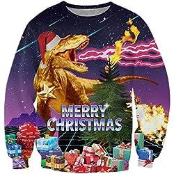 Chicolife gracioso rayo dinosaurio feo Navidad Navidad suéter ocio viaje Jersey sudadera para niños niñas